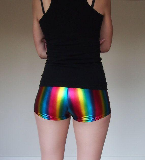 Metallic Rainbow Roller Derby Shorts - in stock