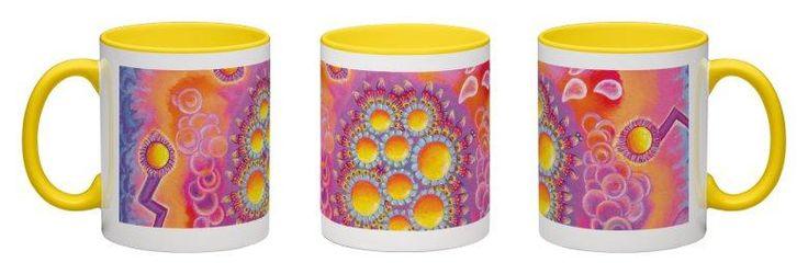 Magic Molecules Accent Mug - Yellow Interior