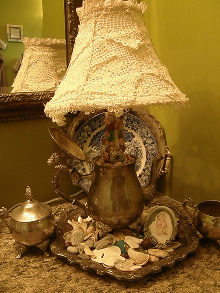 old silverset lamp with seashells and shade msde from old lace