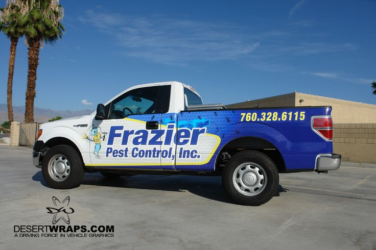 DesertWraps.com has wrapped Frazier's Pest Control's ENTIRE fleet wrap! They look amazing. Give us a call at 760-935-3600. DesertWraps.com is located in Palm Desert, CA. #TruckWrap #Branding #VehicleBranding #VinylWrap #CarWrap #PalmDesert #CoachellaValley #Advertising
