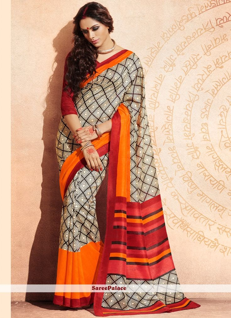 Mystical Cream Bhagalpuri Silk Casual Saree