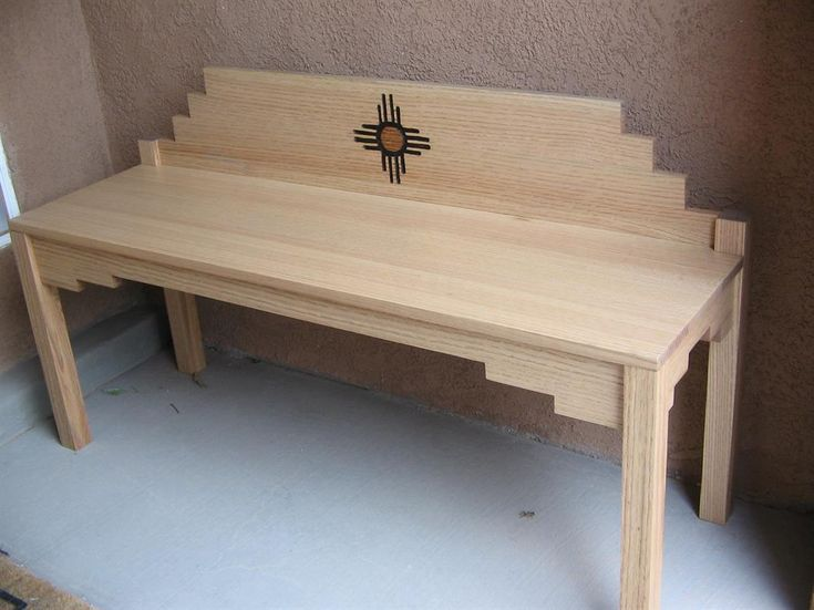 This small yet durable bench built with oak in the style of the American Southwest is adorned with the Zia Pueblo's sign of friendship among the peoples. It will make a beautiful addition to your home, use either inside or outside. Build this and share a future heirloom with those you love.