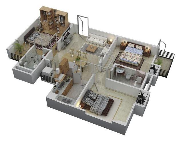 75 Denah Rumah Minimalis 3 Kamar Tidur 3d Yang Modern Dan Terbaru Di 2020 Denah Lantai Rumah Denah Rumah Kecil Denah Rumah