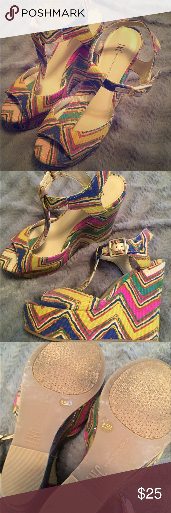 INC gently worn wedges Beautiful colorful wedges worn only a few times INC International Concepts Shoes Wedges