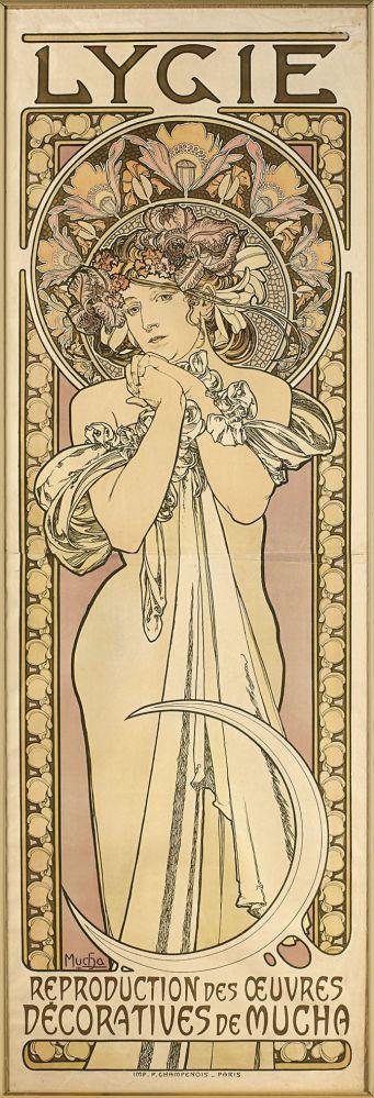 """Mucha, AlphonsePlakat """"Lygie""""(Ivancice 1860-1939 Prag) Hochrechteckige Darstellung einer jungen Dame — Jugendstil, Art Déco, WMF, Gallé, Daum, Lötz, Wien"""