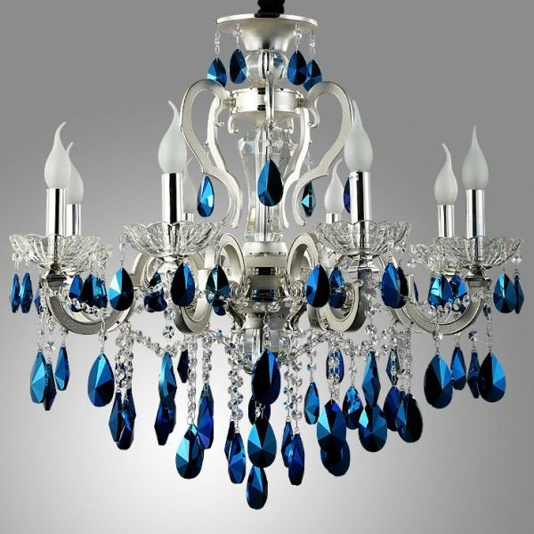 Luxurious Silver Finished Blue Crystal Chandelier 8-Light / 18-Light