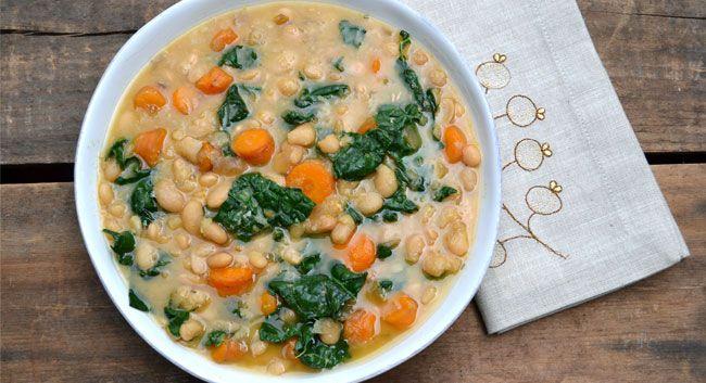 Dino Kale and White Bean Soup