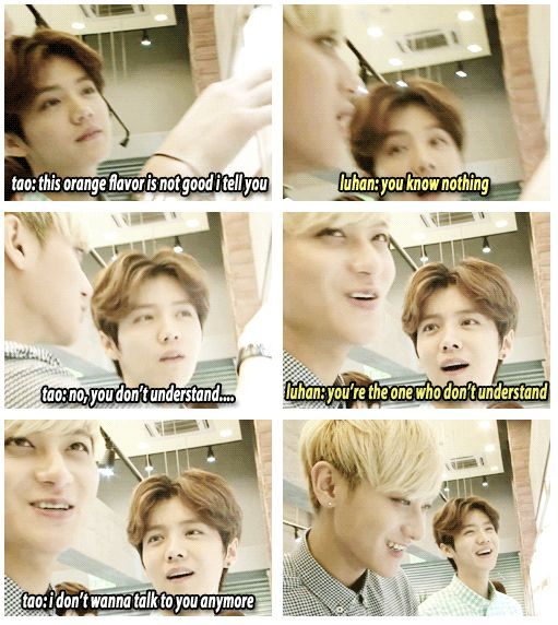 EXO Luhan and Tao just being themselves...KIDS :D Tao makes me die oh god