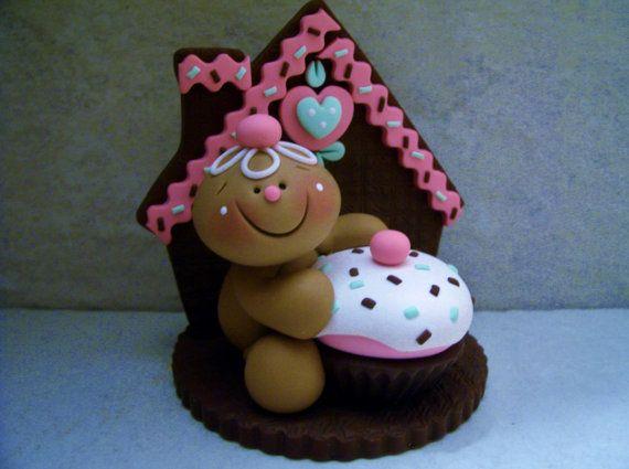 Gingerbread Man Cupcake Polymer Clay por countrycupboardclay