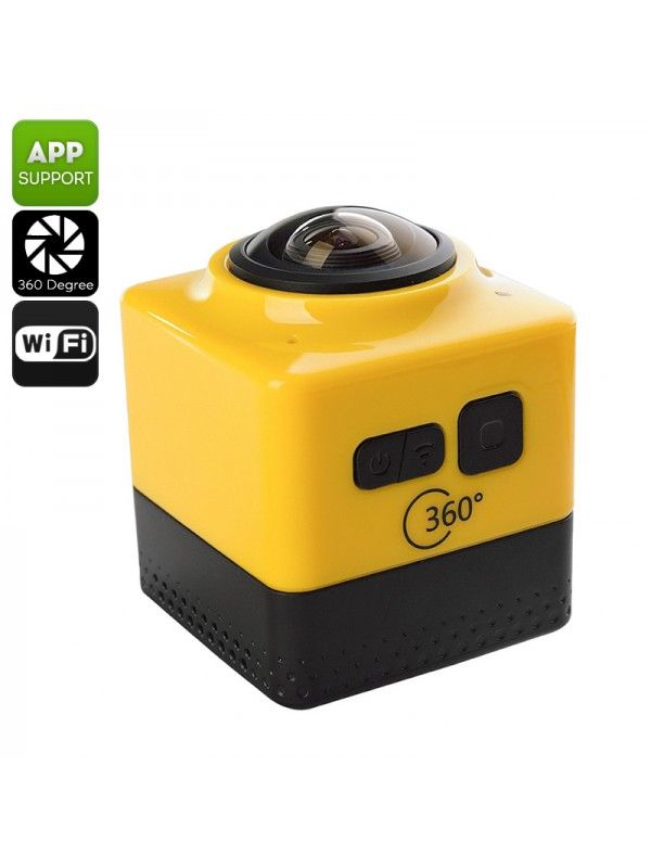 360 Degree Wi-Fi Action Camera (Yellow)