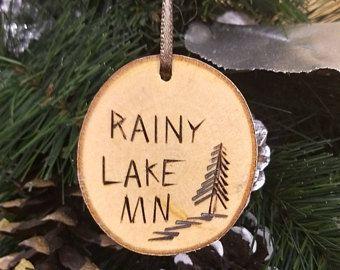 DOOR COUNTY. Wood Burned Birch Rainy Lake Minnesota Ornament