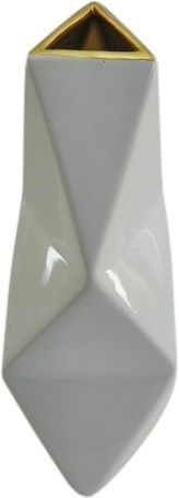 Geometric Shape Vase – White with Gold Lip – 23cm, 30cm and 35cm available