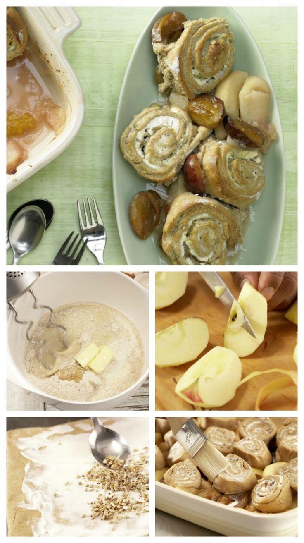 Der Teig wird mit Saurer Sahne bestrichen und mit Sonnenblumenkernen und Zitronenschale bestreut: Buchweizenbuchteln mit Apfel-Zwetschgen-Kompott | http://eatsmarter.de/rezepte/buchweizenbuchteln