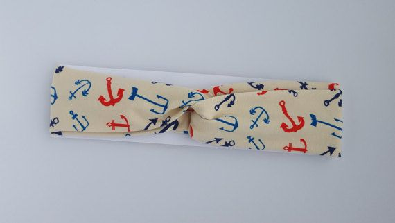 Anchor Summer Headband. Custom Headband. by BettyBethHandmade