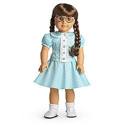 Molly's Polka Dot Outfit: Peter Pan Collar Shirt, matching skirt, white ankle socks, white t-strap shoes