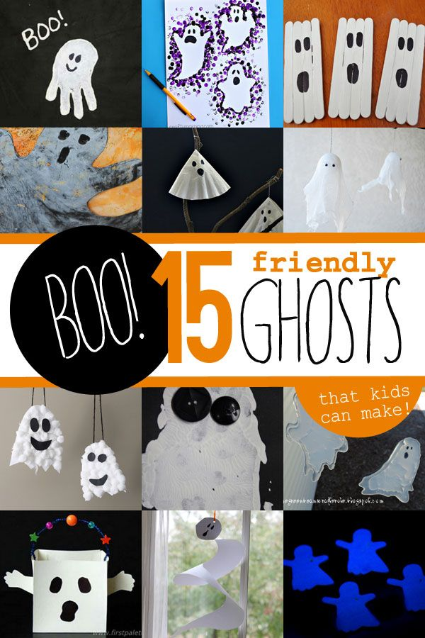Some not-so-spooky, friendly ghost crafts for kids to make for Halloween decorations. From glow in the dark ghosts to hanging ghosts to window cling ghosts!