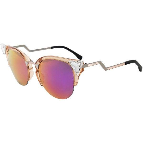 Fendi Iridia Cat Eye Sunglasses FF0041S 9F6 VQ 52 ($520) ❤ liked on Polyvore featuring accessories, eyewear, sunglasses, new arrivals, transparent, rimless cat eye glasses, rimless glasses, fendi glasses, cat-eye glasses and cat eye glasses