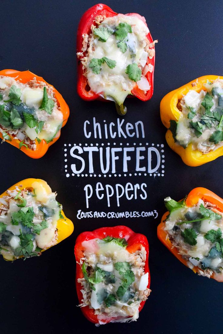 Chicken Stuffed Peppers--Loaded with chicken, onion and cheese, these stuffed peppers are a tasty, low calorie, super healthy dinner option, plus they're easy and fun to make! Only 163 calories per pepper half! {cutsandcrumbles.com}