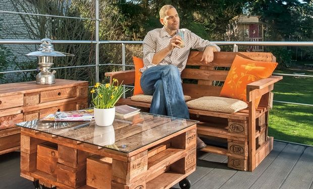 outdoor pallet furniture ideas creative garden armchair wooden table glass top
