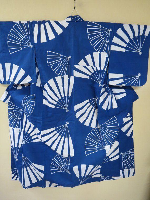 f0dc6f391 Kimono Yukata Cotton Antique Japanese Cotton Kimono White Fans on Bright Blue  Navy Cotton Antique Yukata Kimono Hand Sewn Gift for Her