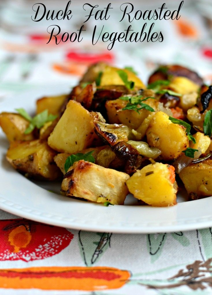 Duck fat roasted vegetables