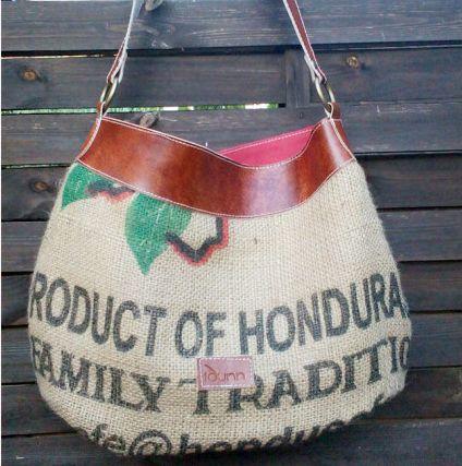 Bolso de saco de cafe y curtación vegetal. Diseño exclusivo no ahí dos iguales 79,00€