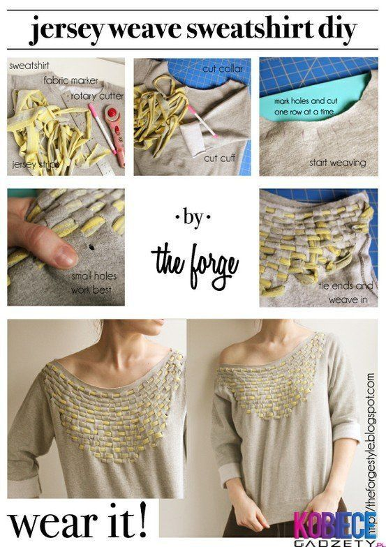 Class up a sweatshirt with this cool woven effect. No further instructions - so follow the pics the best you can! pic via pinterest