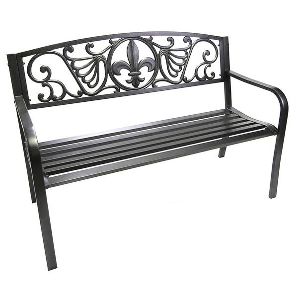 Fleur De Lis Garden Bench ($120) ❤ Liked On Polyvore Featuring Home