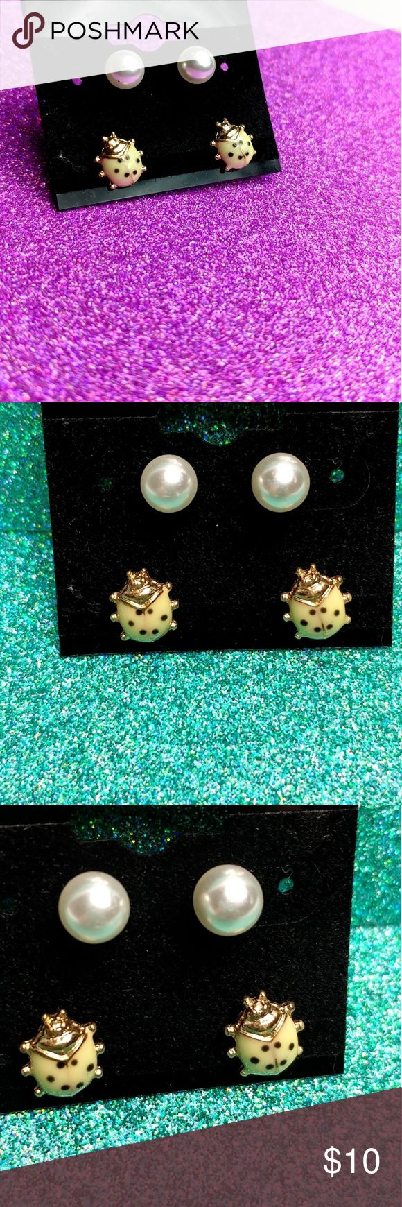 Sensitive Ears Pearl And Lady Bug Stud Earrings