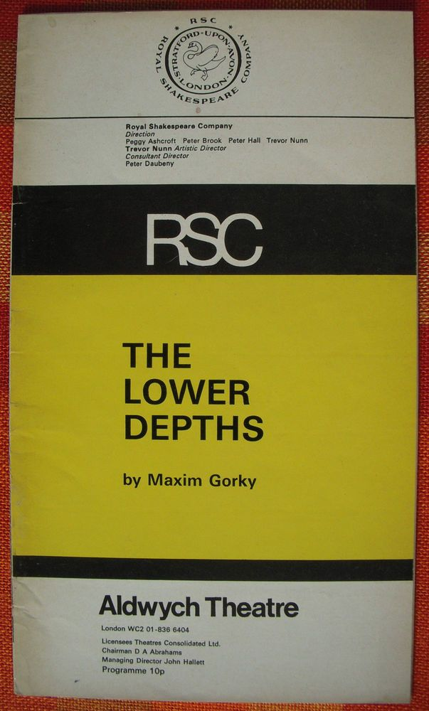 The Lower Depths - RSC Aldwych Theatre Programme 1970s