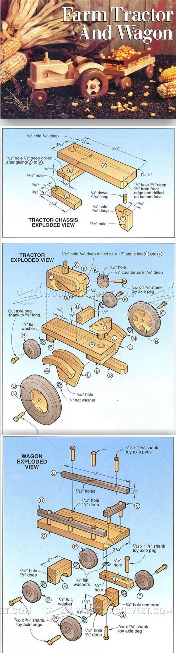 Wooden Tractor Plans - Wooden Toy Plans and Projects | WoodArchivist.com