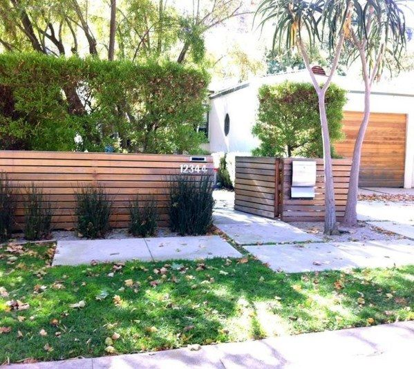 Top 60 Best Front Yard Fence Ideas Outdoor Barrier Designs Modern Front Yard Modern Fence Design Fence Landscaping