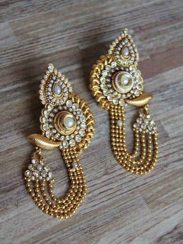 Earrings | Golden long traditional earrings with polki & pearl work | SwetaSutariya
