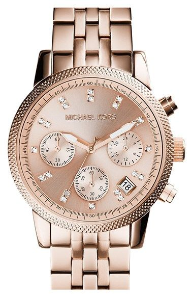 Free shipping and returns on MICHAEL Michael Kors Michael Kors 'The Ritz' Chronograph Bracelet Watch, 36mm at Nordstrom.com. Swarovski crystals punctuate the tonal sunray dial on a chronograph bracelet watch that gleams with a warm golden hue.