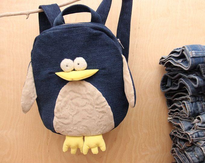 Pinguin Rucksack, dunklem Denim Rucksack, Upcycling-Jeans-Rucksack, Jeans Kinder Kinderrucksack, Jeans-Rucksack, Kinder Rucksack, jeans