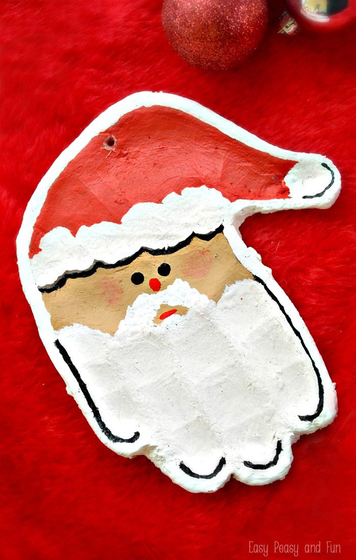 Handprint Santa Salt Dough Ornament - THIS is what we are making to send to grandparents this year!