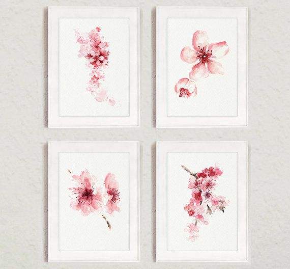 Cherry blossom Flowers Set of 4 Watercolor Prints Pink Home Decor