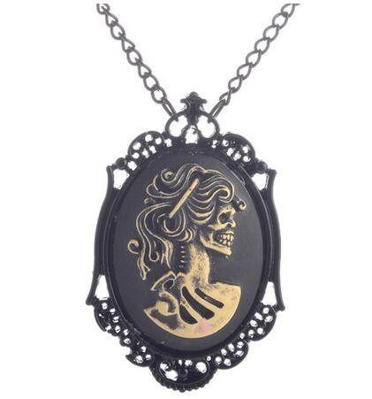 Vintage zwarte dame hoofd stoom punk gothic hanger ketting sieraden