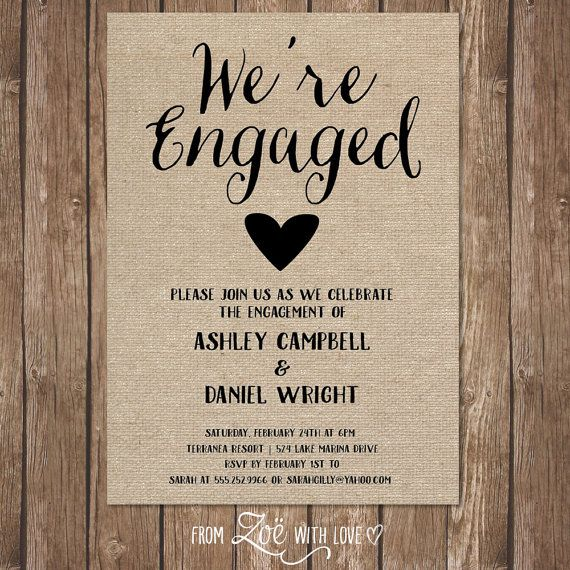 Rustic Engagement Party Invitation, Printable, Shabby Chic, Boho Neutral Burlap