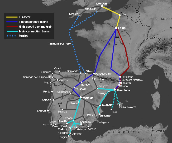 How to travel by train from London to Spain: Madrid, Barcelona, Seville...    trains to use