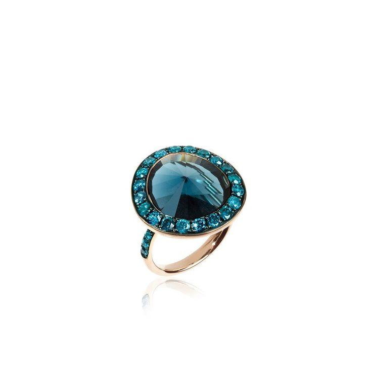 18ct Rose Gold Topaz and Blue Diamond Cocktail Ring | Annoushka.com