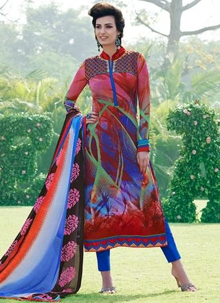 Red N Blue Casual Wear Print Work Churidar Suit http://www.angelnx.com/Salwar-Kameez