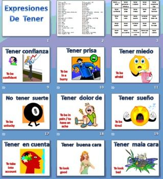 17 best images about tener expressions on pinterest spanish spanish lessons and student. Black Bedroom Furniture Sets. Home Design Ideas