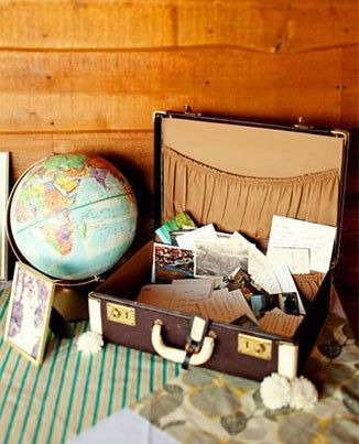 Alternative guest book ideas - suitcase with vintage postcards with messages on them