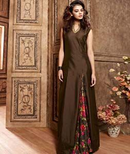 Buy Brown Silk Party Wear Suit 76179 online at lowest price from huge collection of salwar kameez at Indianclothstore.com.