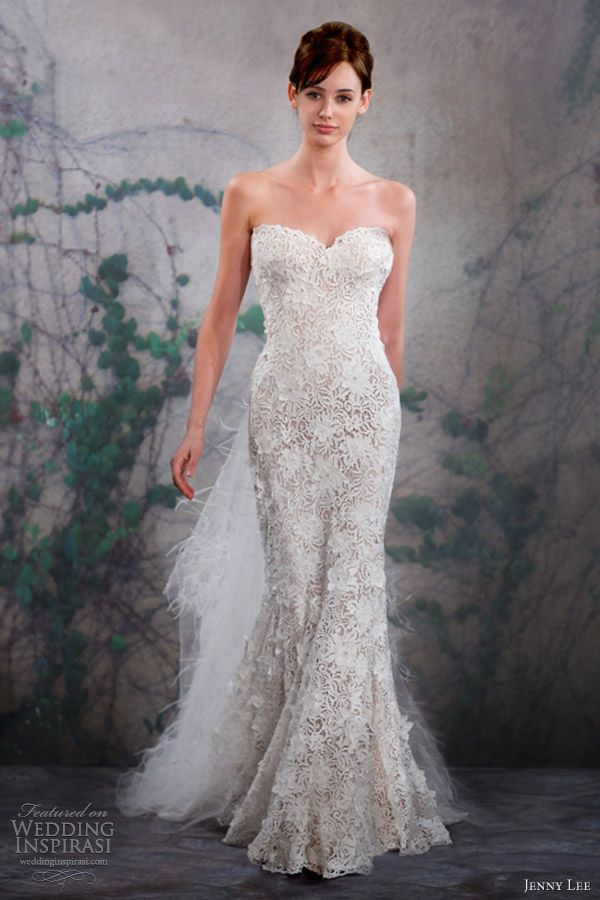white and nude wedding gown | jenny lee wedding dresses fall 2013 strapless gown 1318