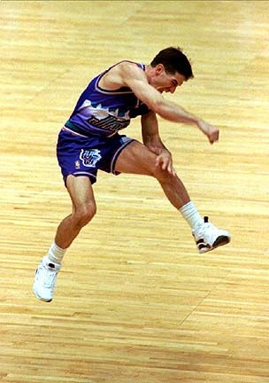 John Stockton sends the Utah Jazz to the NBA Finals.  One of the greatest moments ever.  Do you remember where you were?