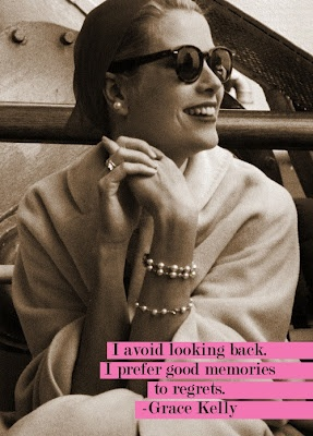 Grace Kelly quote - I avoid looking back. I prefer good memories to regrets