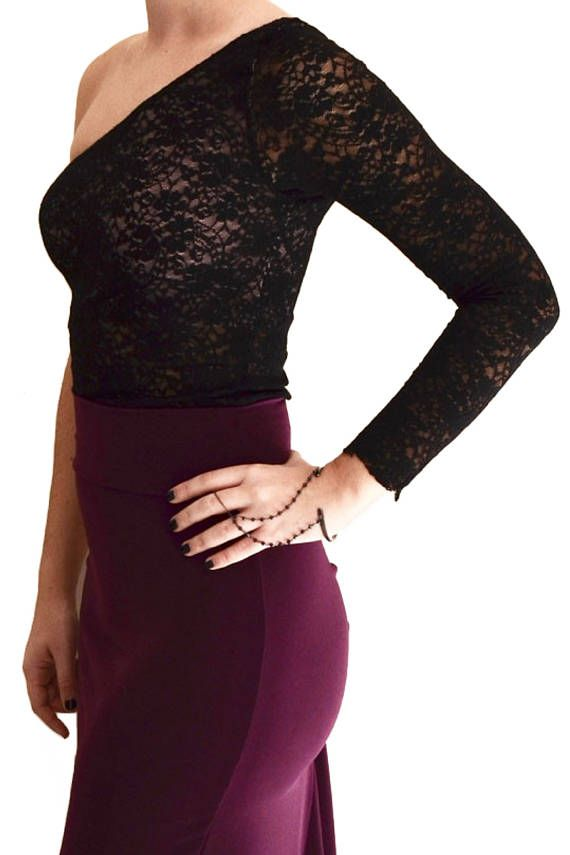 One-shoulder Lace Milonga Top Milonga lace top Crop-top    #tangodress #argentinetangodress #milongadress #elegant #tangodance #milongatop #tangotop #lace