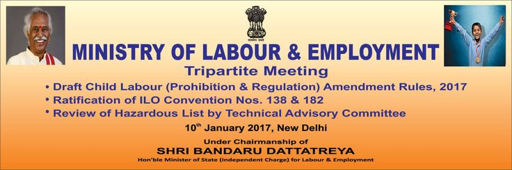 Under the Chairmanship of Shri Bandaru Dattatreya ji the Tripartite Meeting of Ministry of Labour and Employment is going to take place on 10th January 2017 in New Delhi.